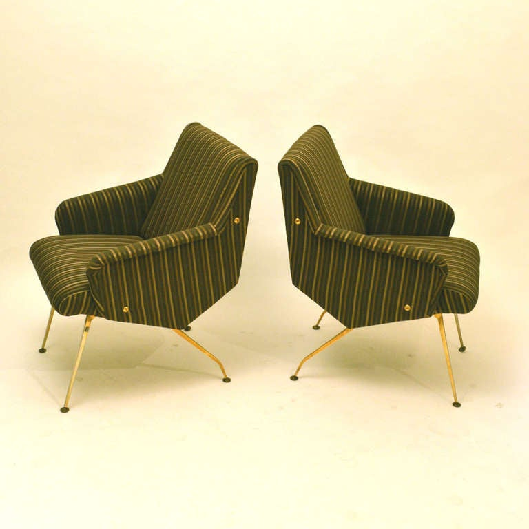 Mid-Century Modern Pair of 1950's French Lounge Chairs in Luxurious Black and Gold Striped Fabric For Sale