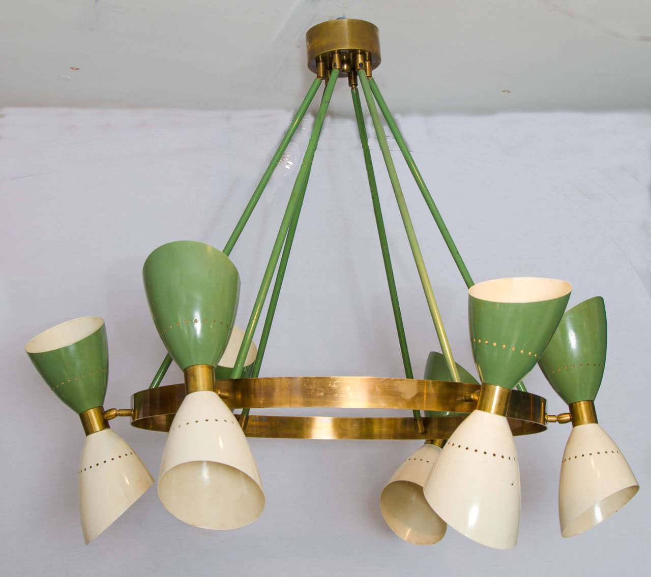 Large italian 1950s chandelier with hourglass shades at 1stdibs arubaitofo Choice Image