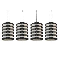 1960s Set of Four Geometric Dutch Pendant Lamps by Hoogervorst