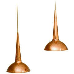 1950s, Pair of Danish Copper Lamps by Fog & Morup