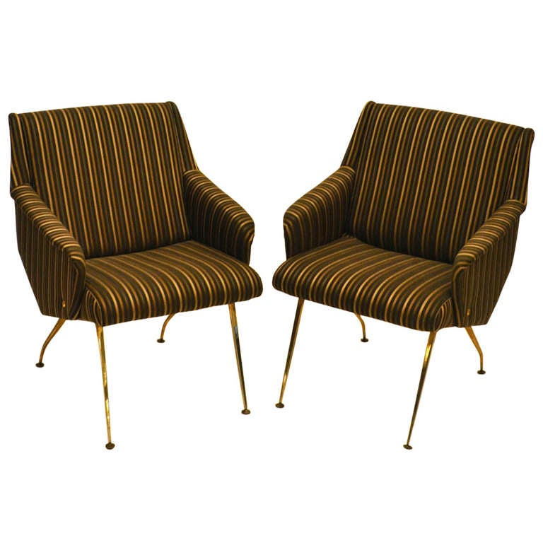 Superieur Pair Of 1950u0027s French Lounge Chairs In Luxurious Black And Gold Striped  Fabric