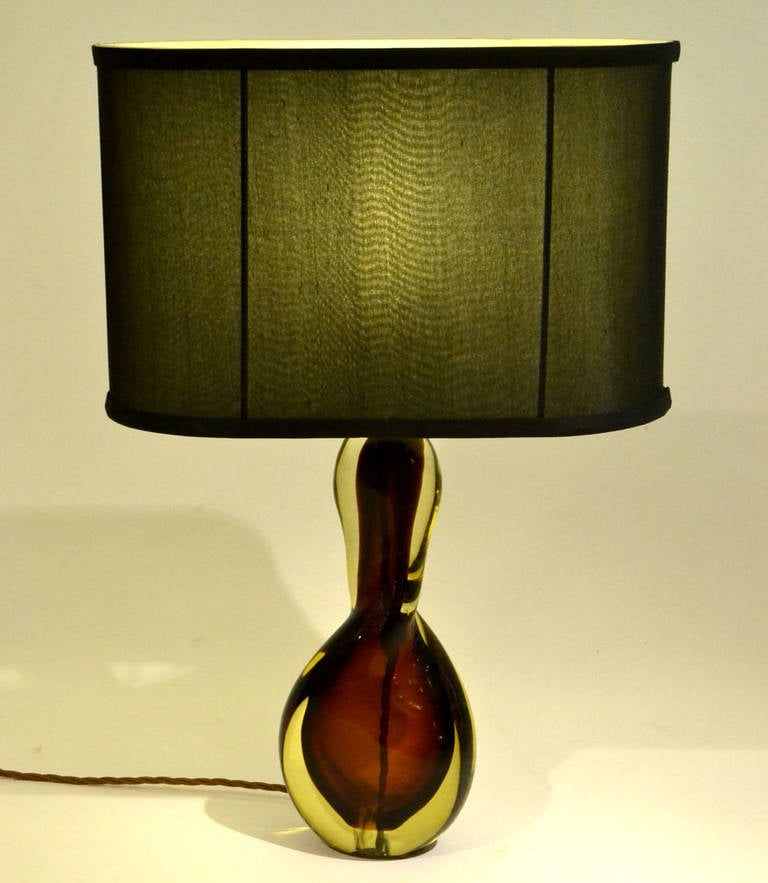 murano midcentury glass table lamp by flavio polli at 1stdibs