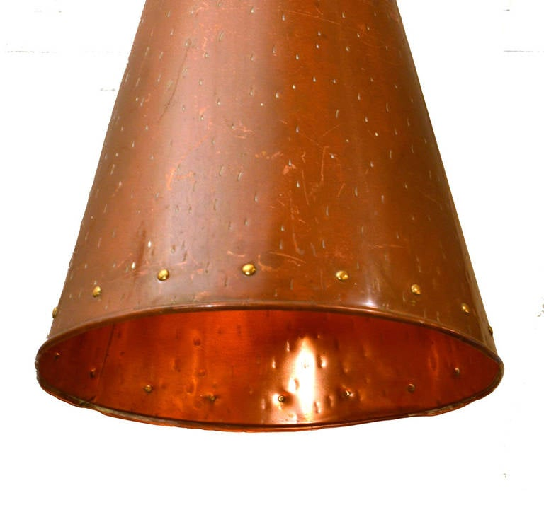 1950's Scandinavian Cone-Shaped Hand Beaten Copper Pendant Lamp ...