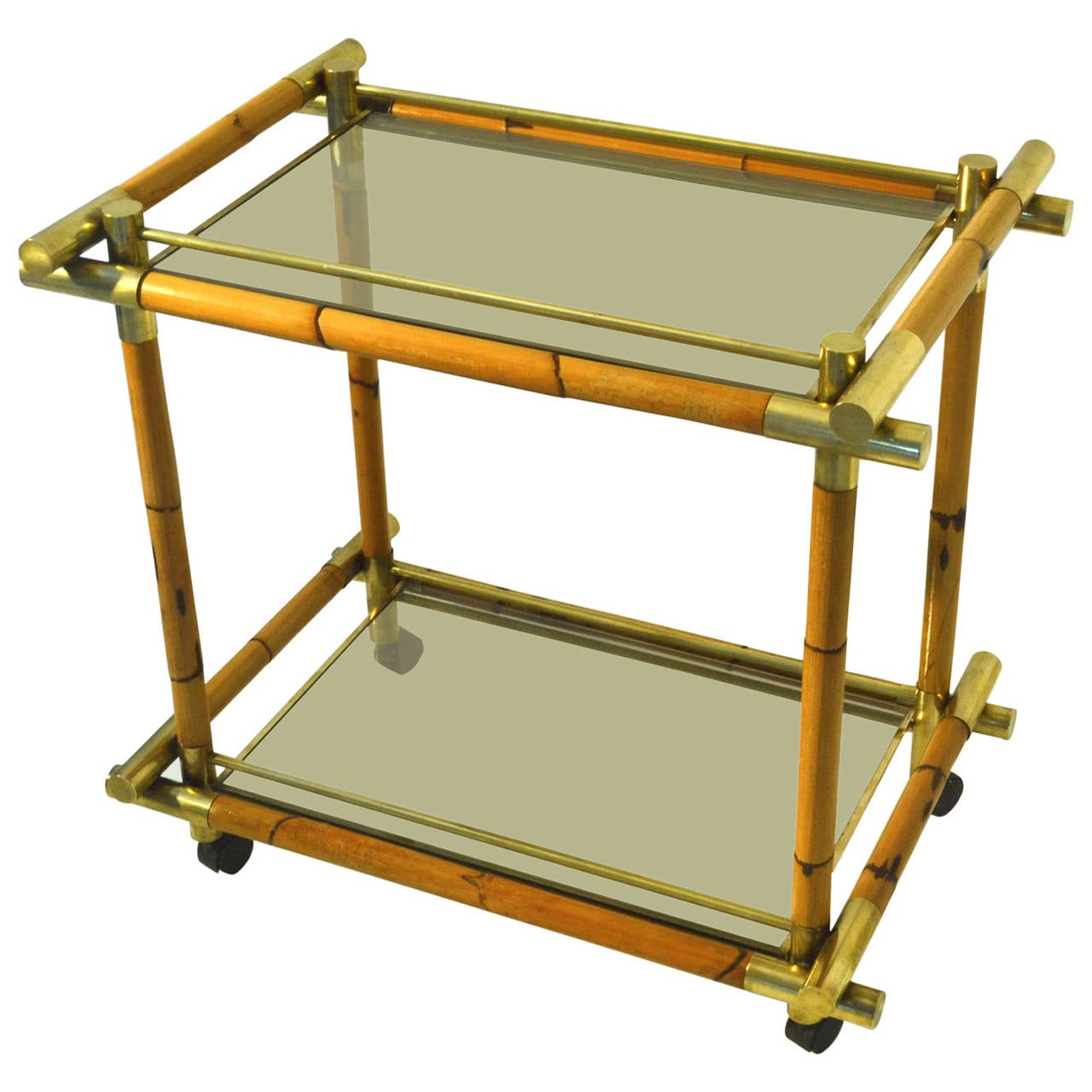 Cocktail Trolley In Bamboo Brass And Glass At 1stdibs