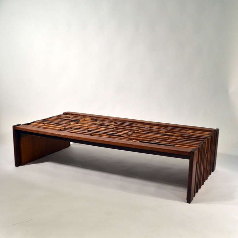 Rosewood Brazilian Relief Coffee Table By Parcifal Lafer