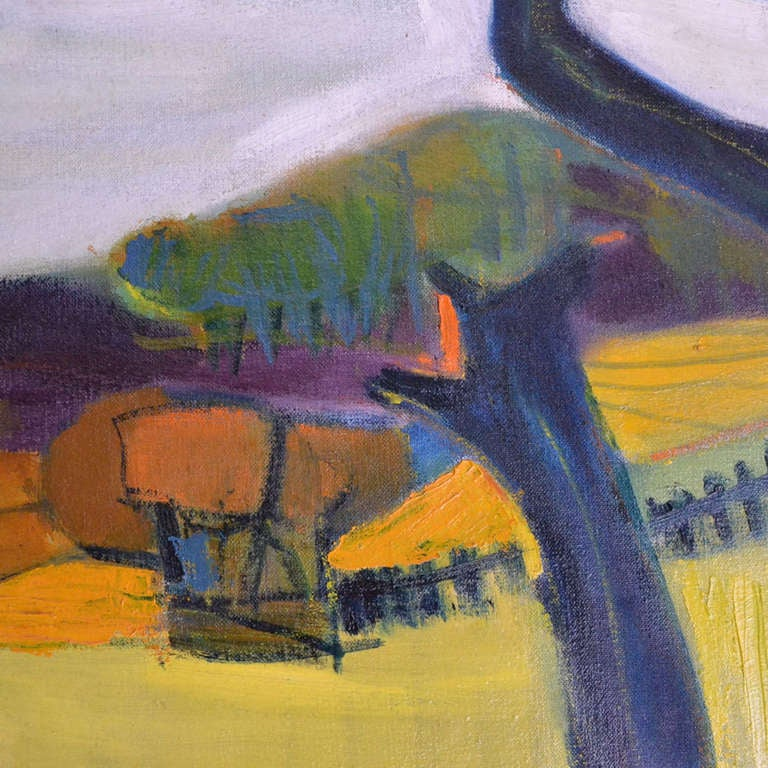 1950 Oil Painting of British Landscape in Vibrant Green Tones by Barbara Knight 2