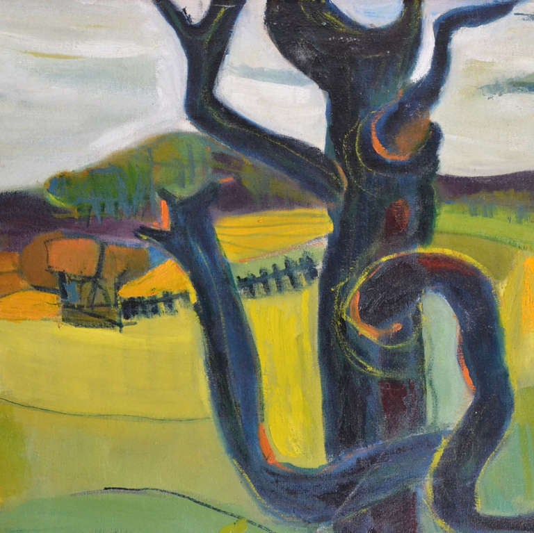 1950 Oil Painting of British Landscape in Vibrant Green Tones by Barbara Knight 4