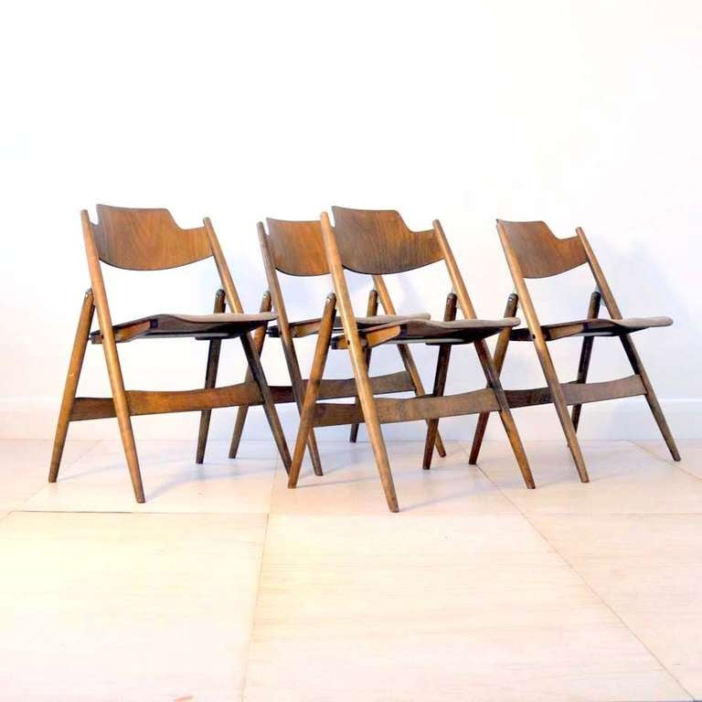 four 1950s egon eiermann ply wood folding chairs 2