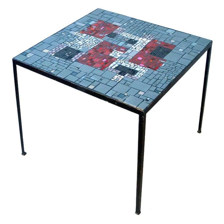 Glass And Metal Square Coffee Table In Black W 80cm: Square 1960's Mosaic Side Table In Grey And Red Tones For