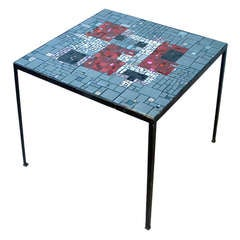 Square 1960's Mosaic Side Table in Grey and Red Tones