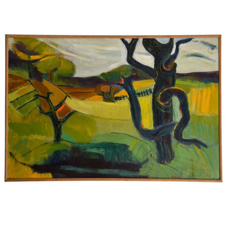 1950 Oil Painting of British Landscape in Vibrant Green Tones by Barbara Knight 1