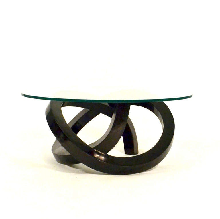 Double looped round coffee table at 1stdibs for Double round coffee table