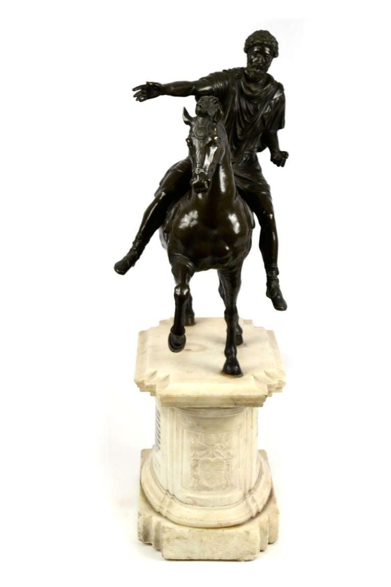 Neoclassical Equestrian Statue of Emperor Marcus Aurelius on Marble Plinth For Sale