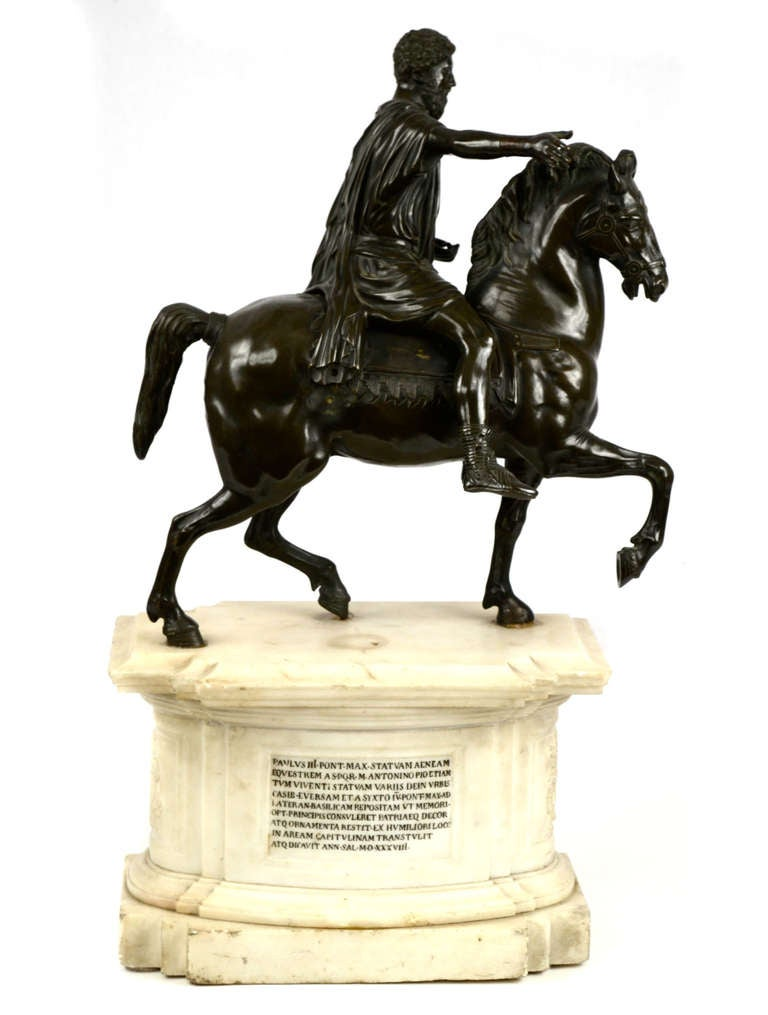 French Equestrian Statue of Emperor Marcus Aurelius on Marble Plinth For Sale