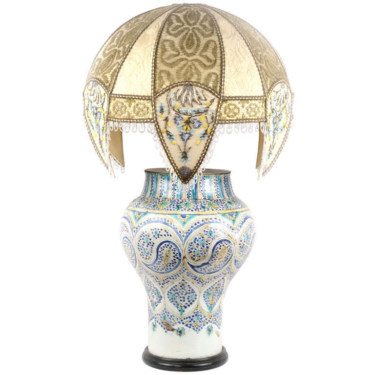 Lamped Iznik Vase With Embroidered Silk Shade At 1stdibs