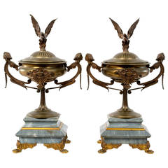 A Pair of Continental Marble and Ormolu Urns