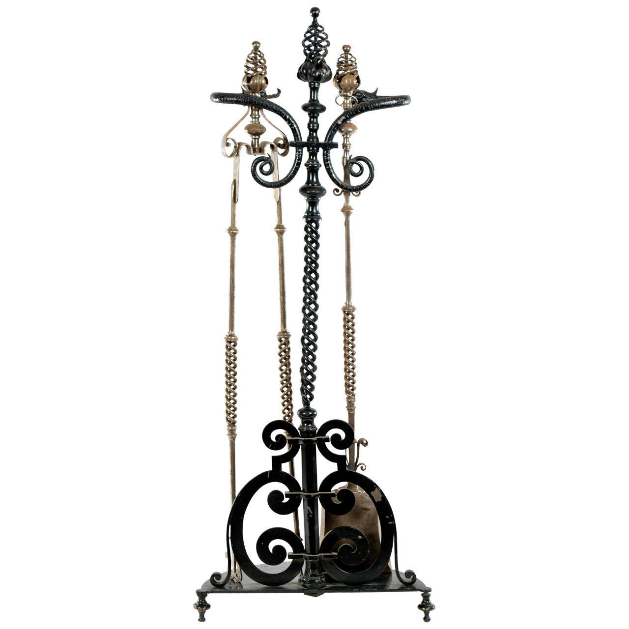 A French Wrought Iron Fireplace Tool Set With Sculpted Dolphins At 1stdibs