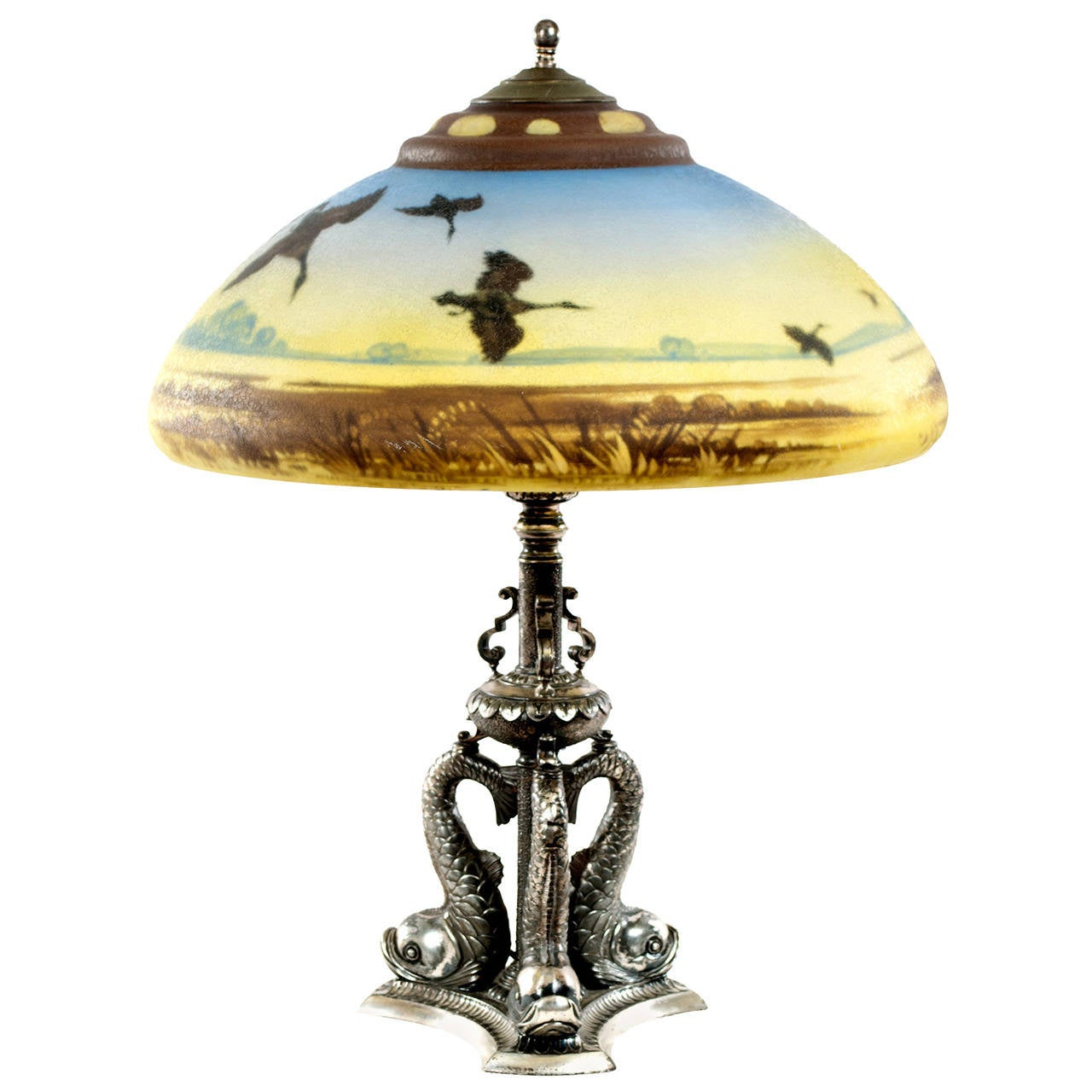 this american pair point glass table lamp with dolphin base is no. Black Bedroom Furniture Sets. Home Design Ideas
