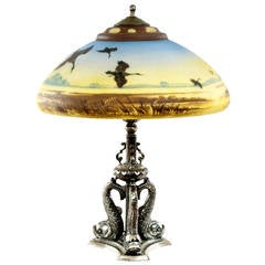 American Pair-Point Glass Table Lamp with Dolphin Base