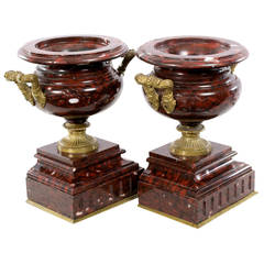 A Pair of French Red Marble Ormolu Urns