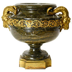 A French Beaux-Arts Marble And Ormolu Urn With Goat Heads