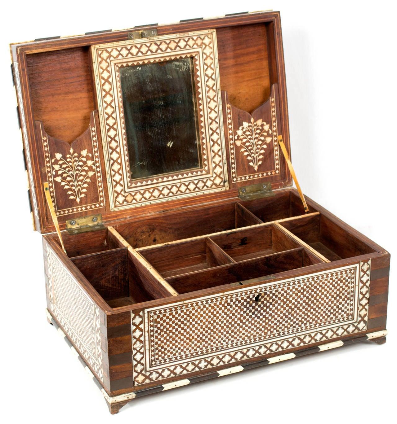 A Nineteenth Century Indochine Inlaid Bone Jewelry Box At