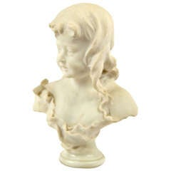 Marble Bust of Girl with Flowers by Bertrand