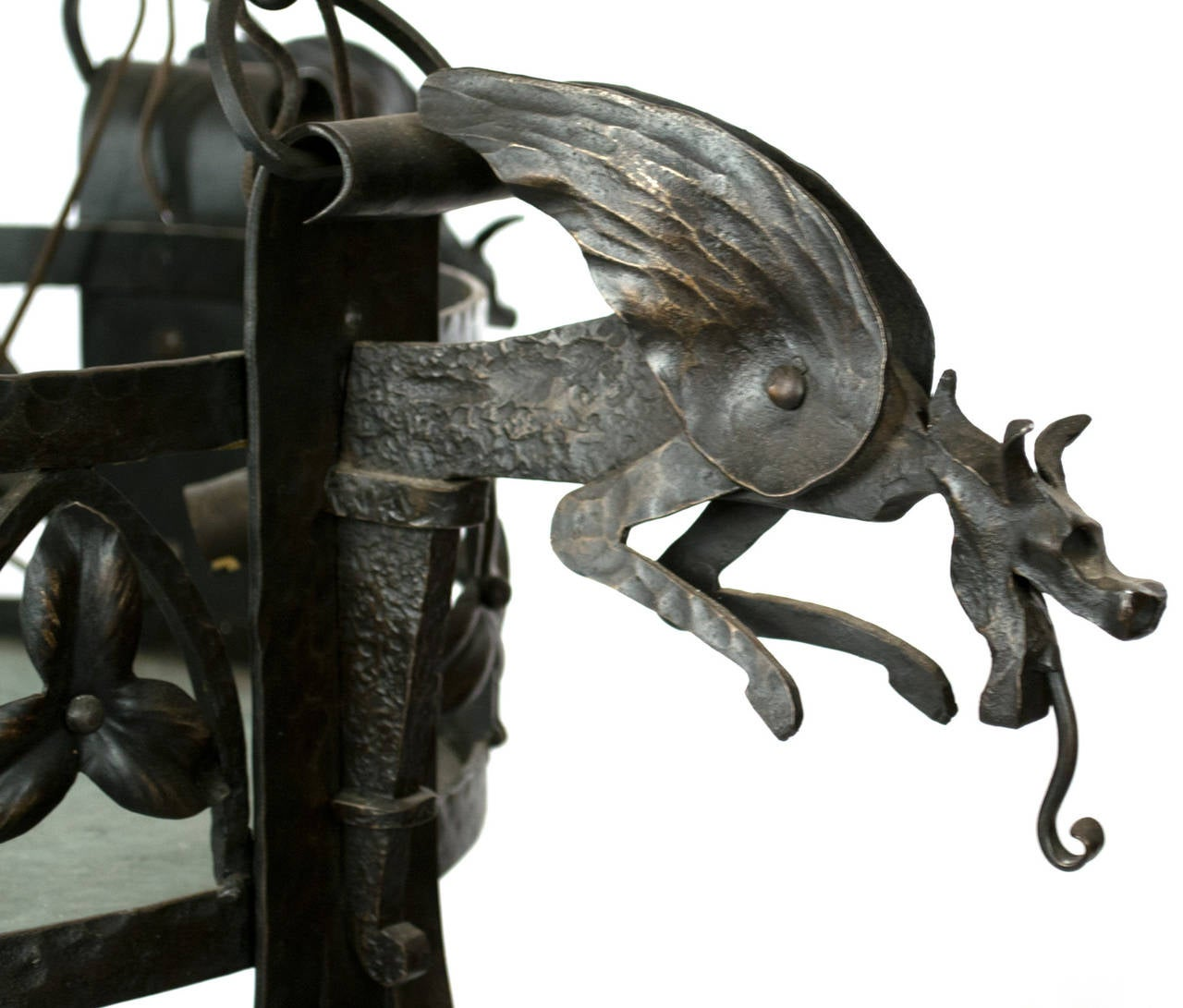 French wrought iron arts and crafts chandelier with dragons at 1stdibs french wrought iron arts and crafts chandelier with dragons 2 arubaitofo Gallery