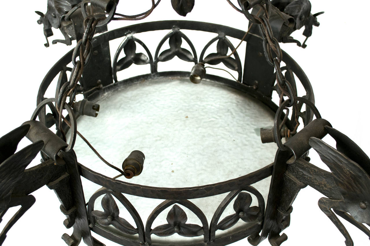 French Wrought Iron Arts and Crafts Chandelier with