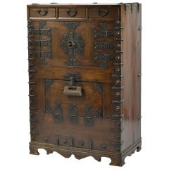 A Korean Oak And Wrought Iron Cabinet