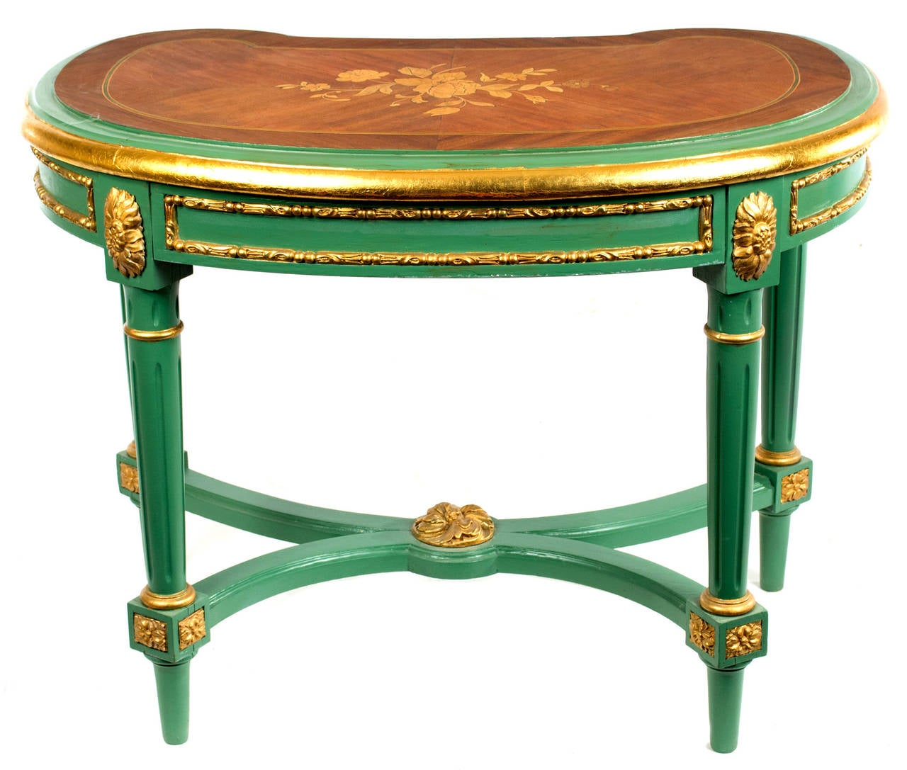 Gilt Venetian Louis Xvi Stool With Marquetry Top For Sale