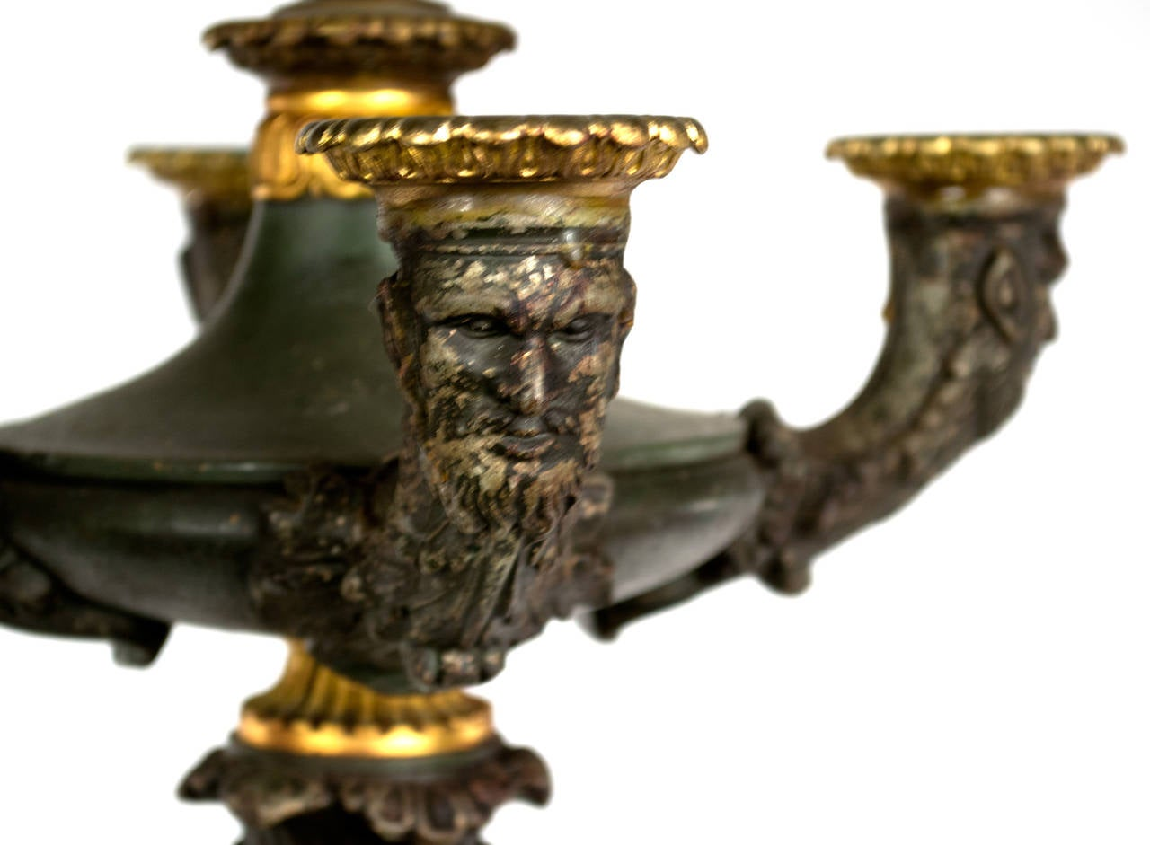 Pair of Bronze and Ormolu Renaissance Revival Table Lamps In Good Condition For Sale In Salt Lake City, UT