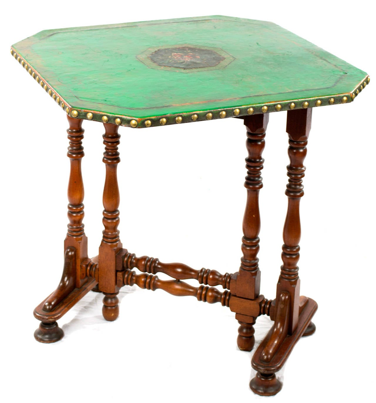 English Folding Green Leather Game Table 2