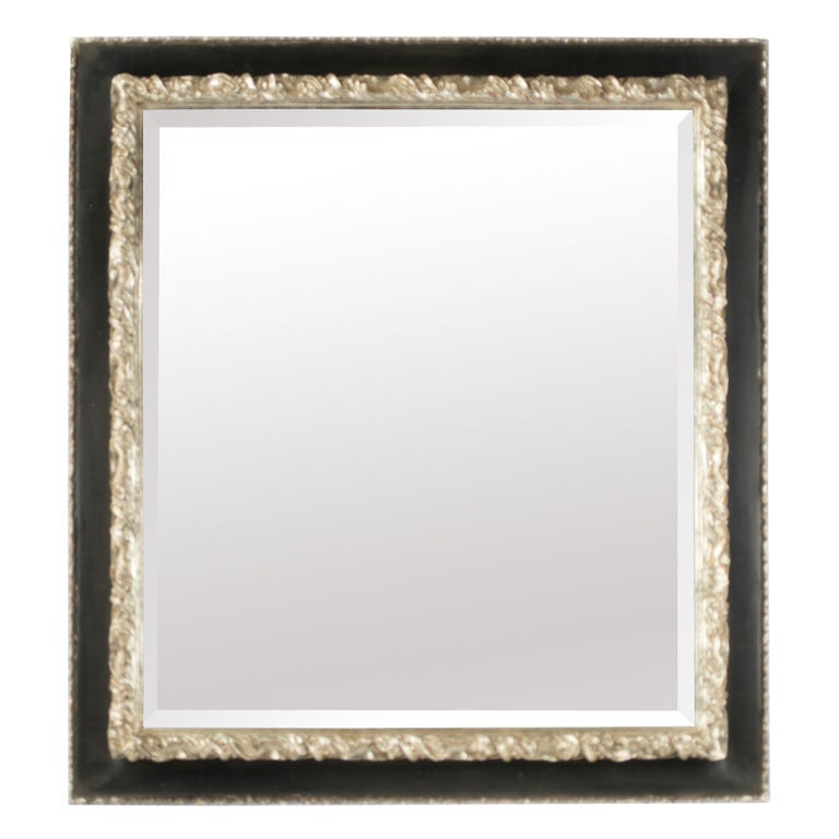 Silvered and ebonized bevelled mirror for sale at 1stdibs for Silver framed mirrors on sale
