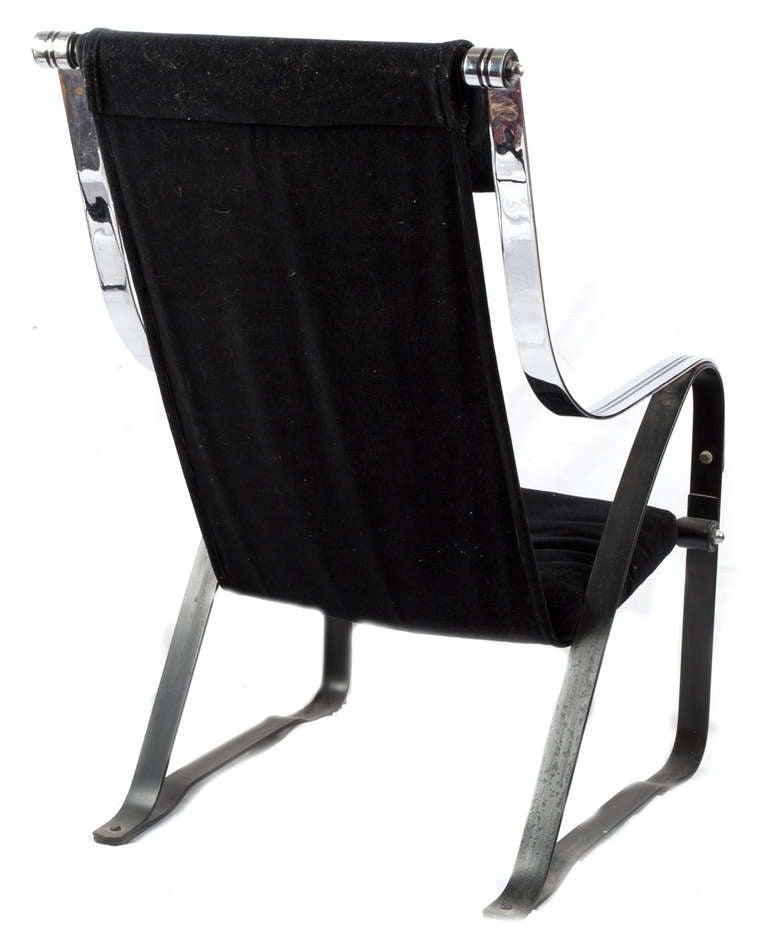 Chrome And Velvet Suspension Chair For Sale At 1stdibs