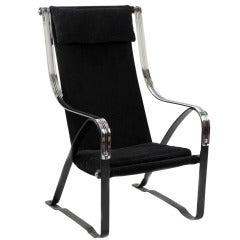 Chrome and Velvet Suspension Chair