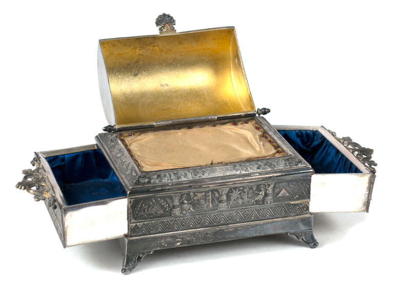 An Egyptian Themed Jewelry Box with Silk For Sale at 1stdibs