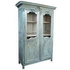 Carved and Painted Oak Armoire from Normandy