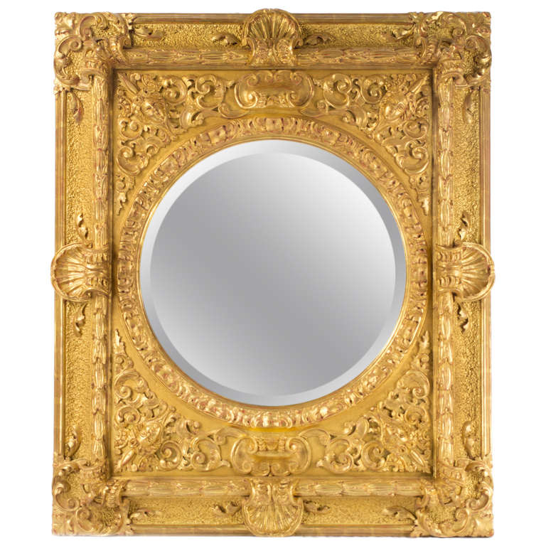 Carved and gilt italian baroque mirror for sale at 1stdibs for Baroque mirror