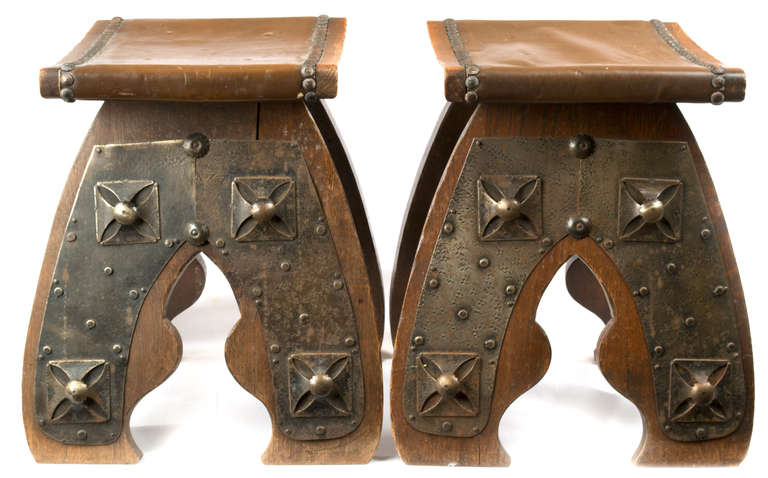 A Pair Of French Arts And Crafts Footstools At 1stdibs