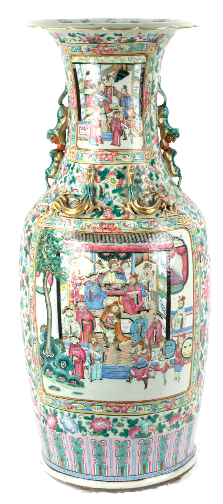 A canton famille rose baluster vase at 1stdibs beautifully painted in gold pink and green with scenes of immortals scholars a canton famille rose baluster vase in excellent condition reviewsmspy