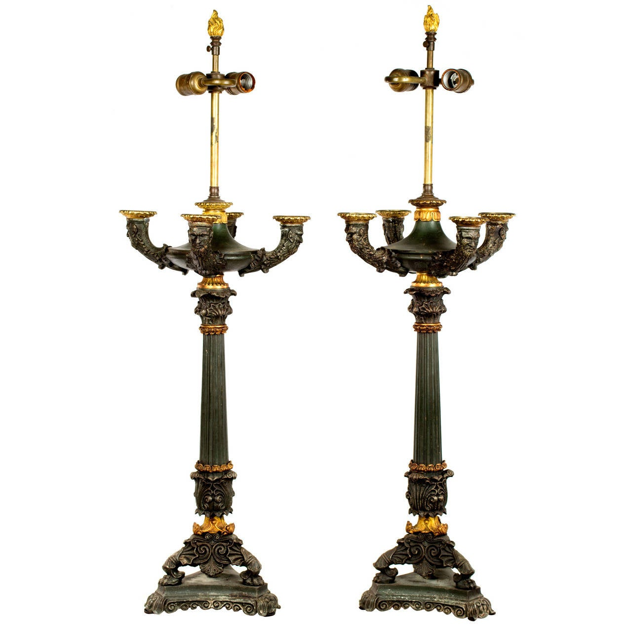 Pair of Bronze and Ormolu Renaissance Revival Table Lamps For Sale