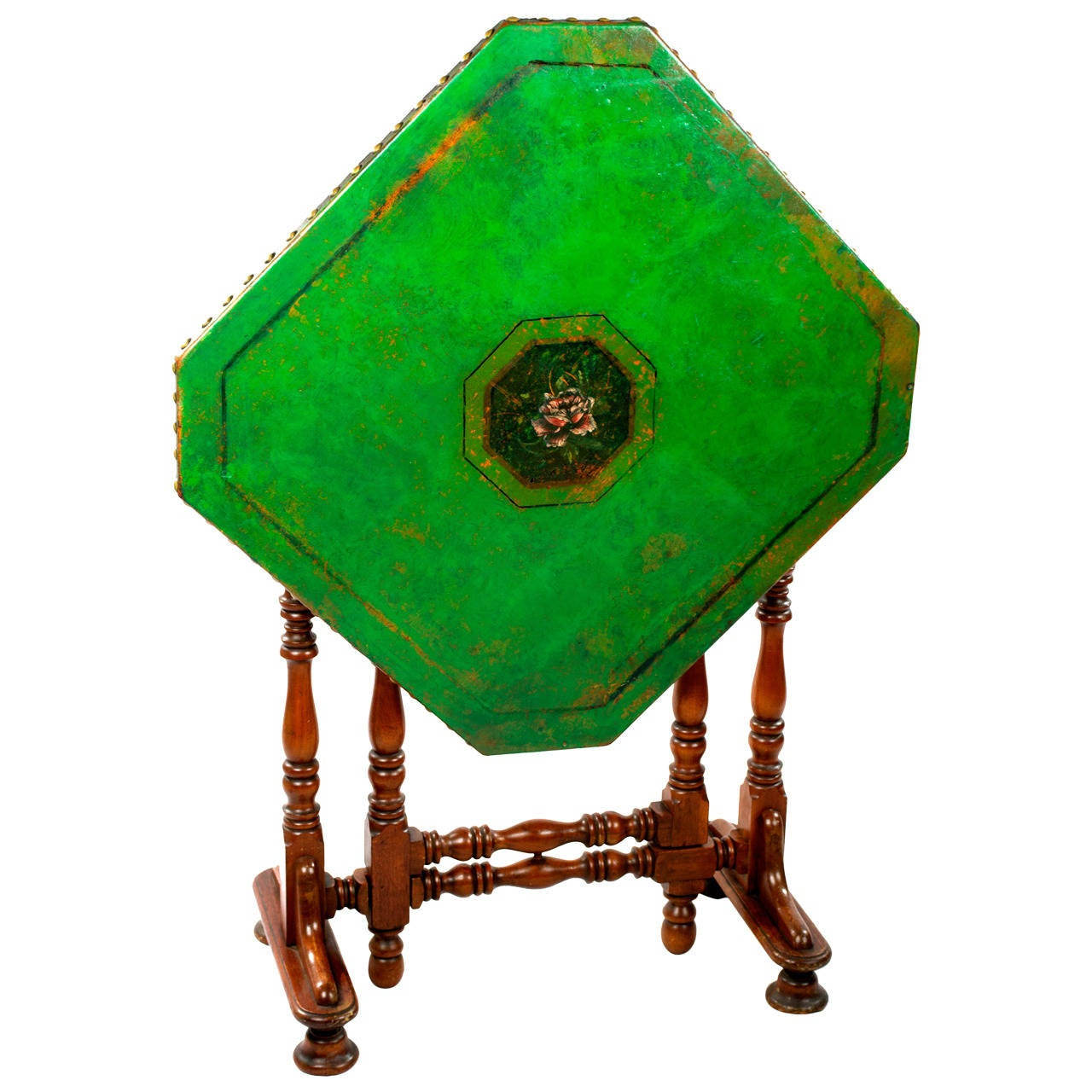 English Folding Green Leather Game Table 1