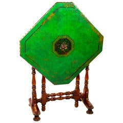 English Folding Green Leather Game Table
