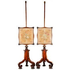 Pair of English Embroidered Mahogany Fire Screens