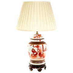 Chinese Red-Painted Baluster Vase Lamp