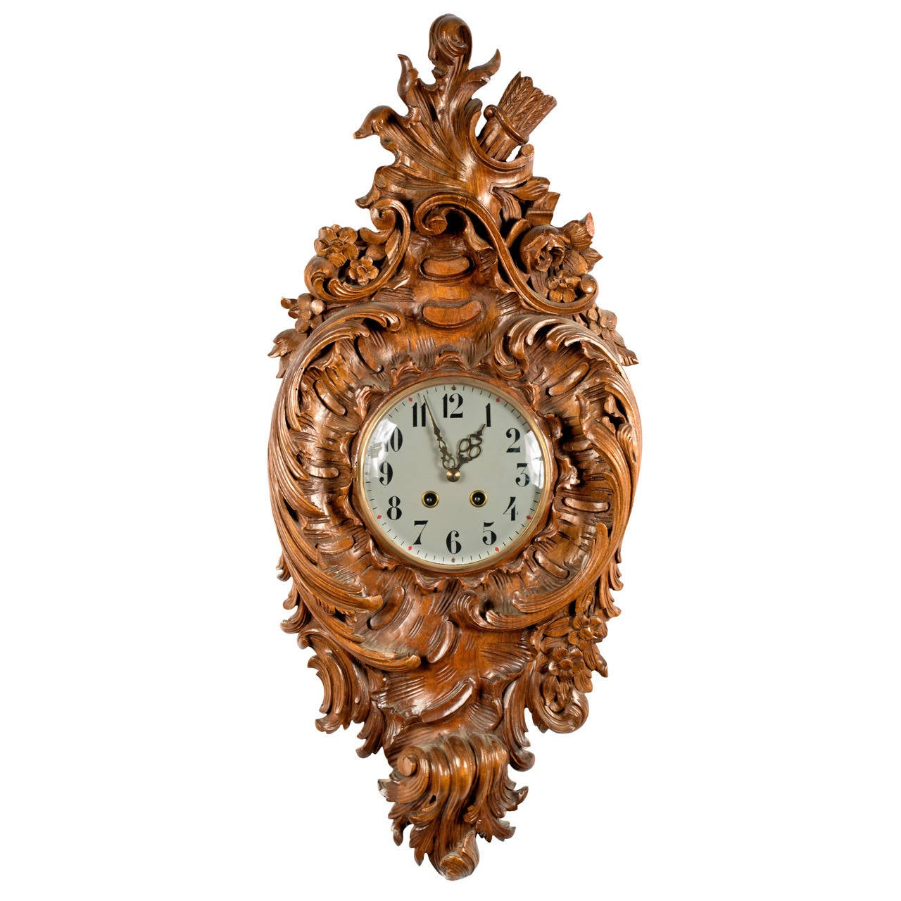 French carved walnut rocaille wall clock for sale at stdibs