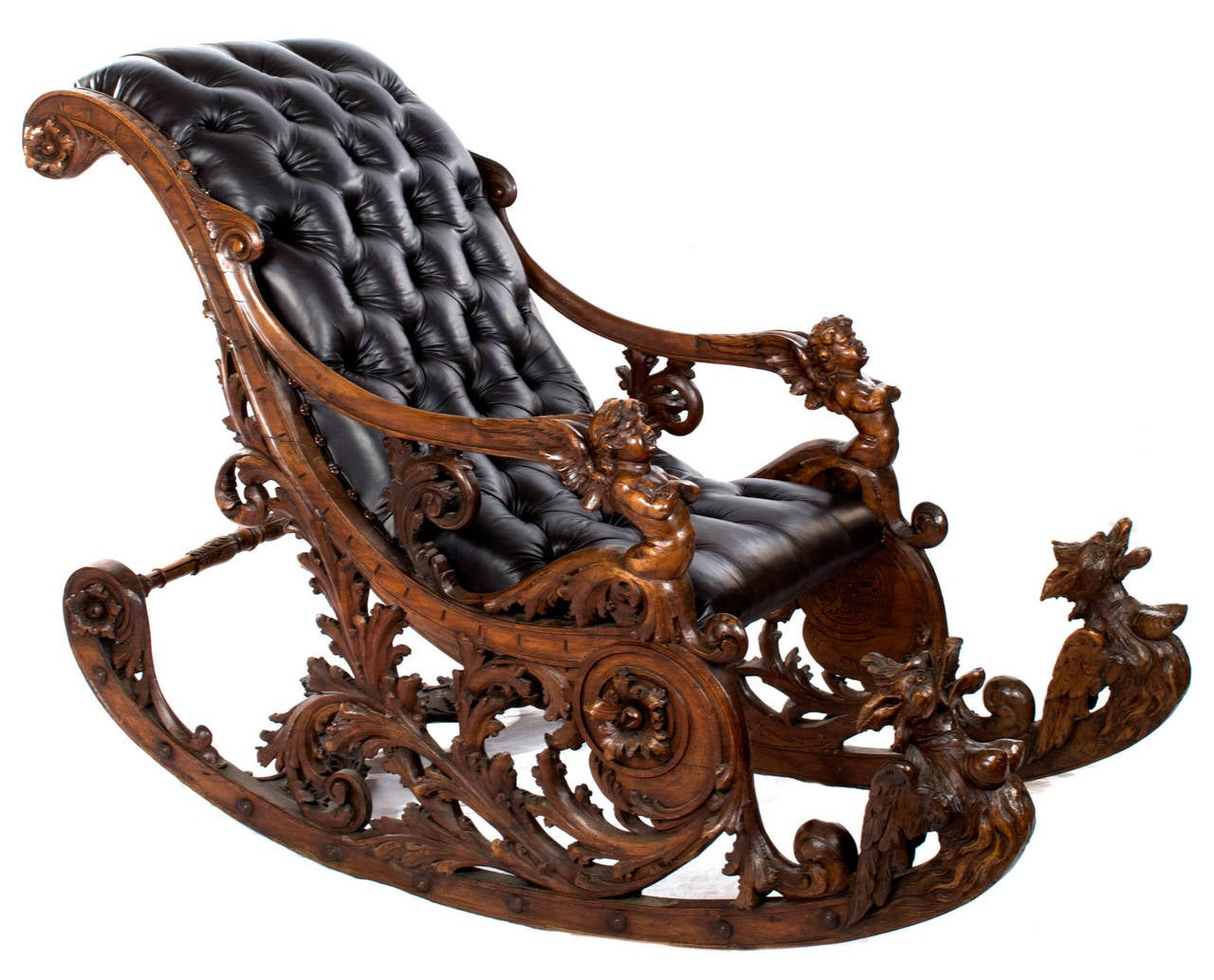 Elaborately Carved Venetian Rocking Chair At 1stdibs