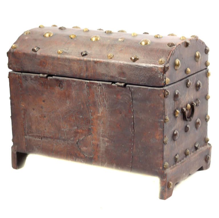 18th Century Spanish Red Leather Chest 4