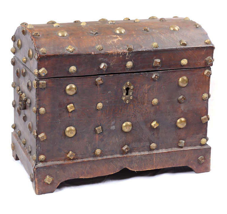 18th Century Spanish Red Leather Chest 2